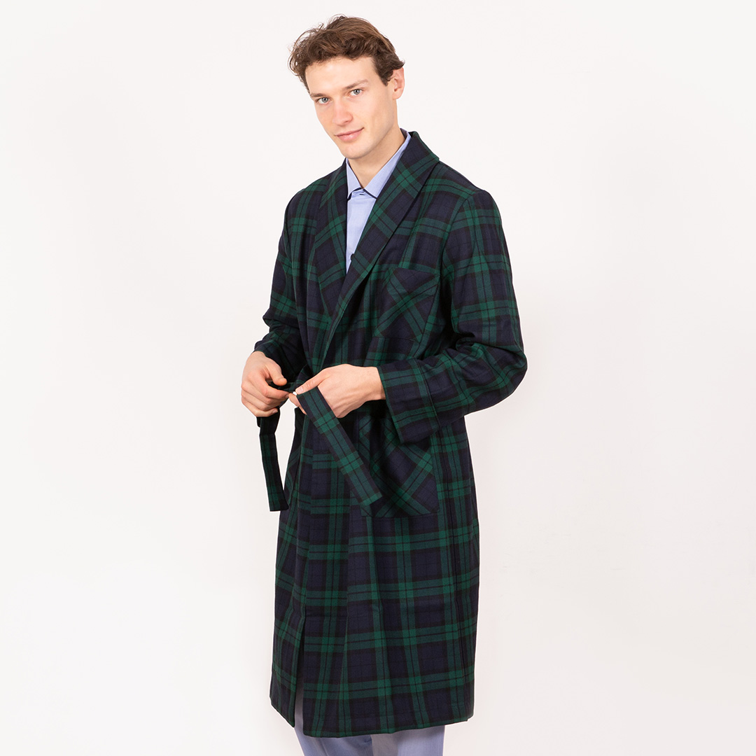 Pure Wool Dressing Gown Black Watch Pattern Schostal Made In Italy Worldwide Shipping